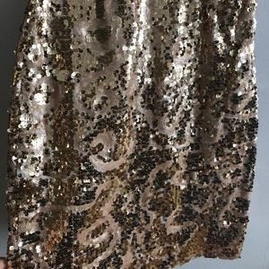 BEBE GOLD SWIRL SEQUIN DRESS